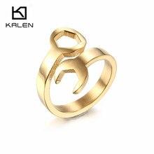 Kalen pas cher clé anneaux pour femmes taille 6 7 8 9 acier inoxydable or Punk Biker clé hommes anneaux de mode fête bijoux cadeaux