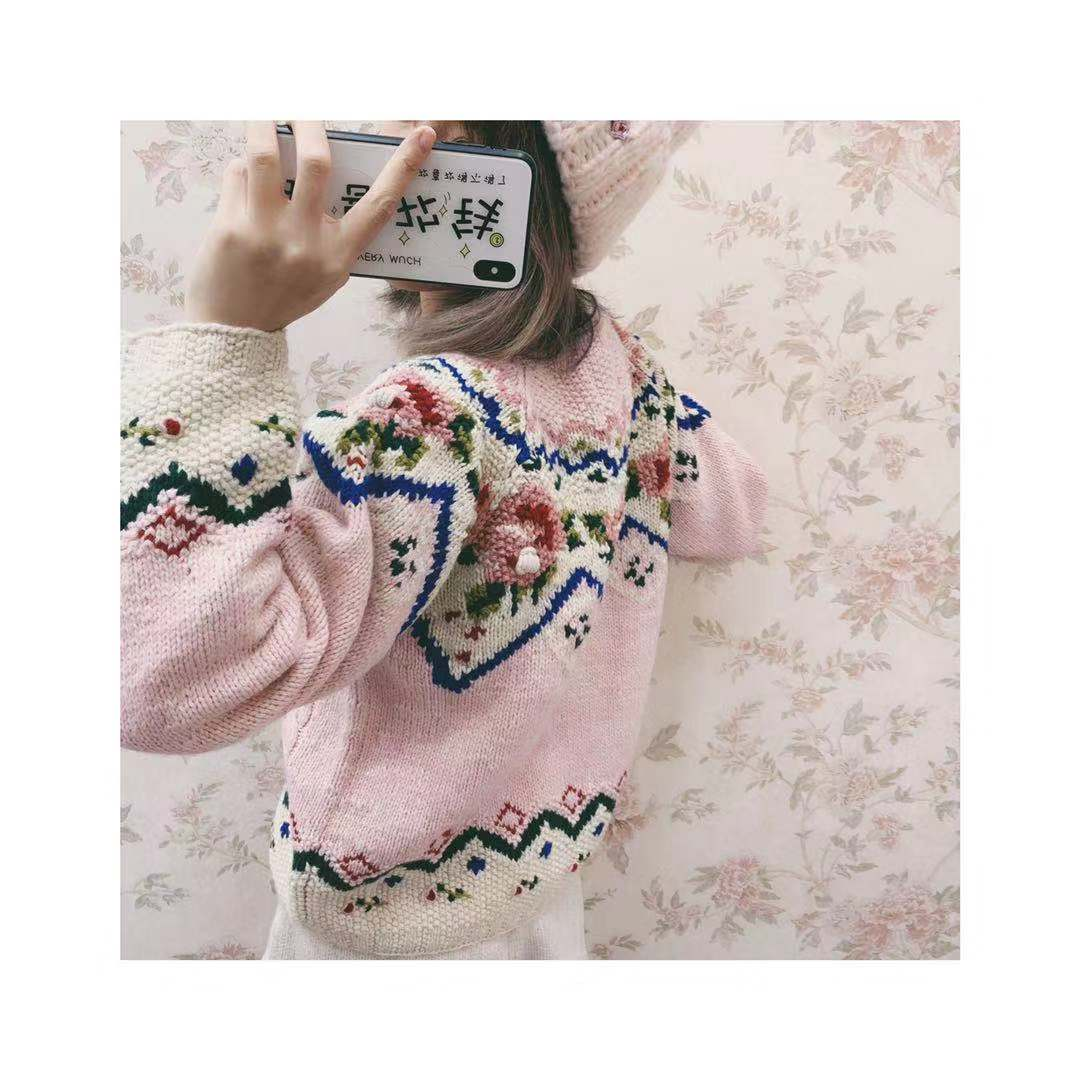 2019 Special Offer Full Blusas De Inverno Feminina Spring New Embroidery Flower Wool Pullover Hand-knit Sweater Girl Knit Women enlarge