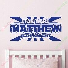 Heißer Verkauf Star Wars Wandtattoo-Personalisierte Name Jedi Knight-Vinyl Aufkleber Jungen Schlafzimmer Decor Poster Wandaufkleber Steuern Dekor
