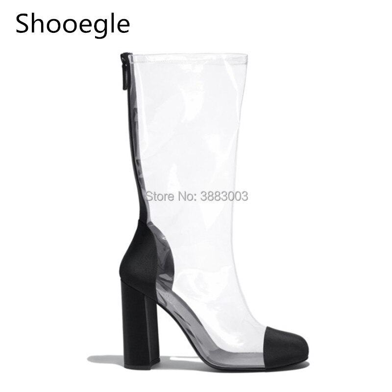 Fahion cremallera trasera punta redonda PVC claro botas de media caña tacón alto transparente mujeres verano Botas de lluvia negro blanco talla grande EU 43