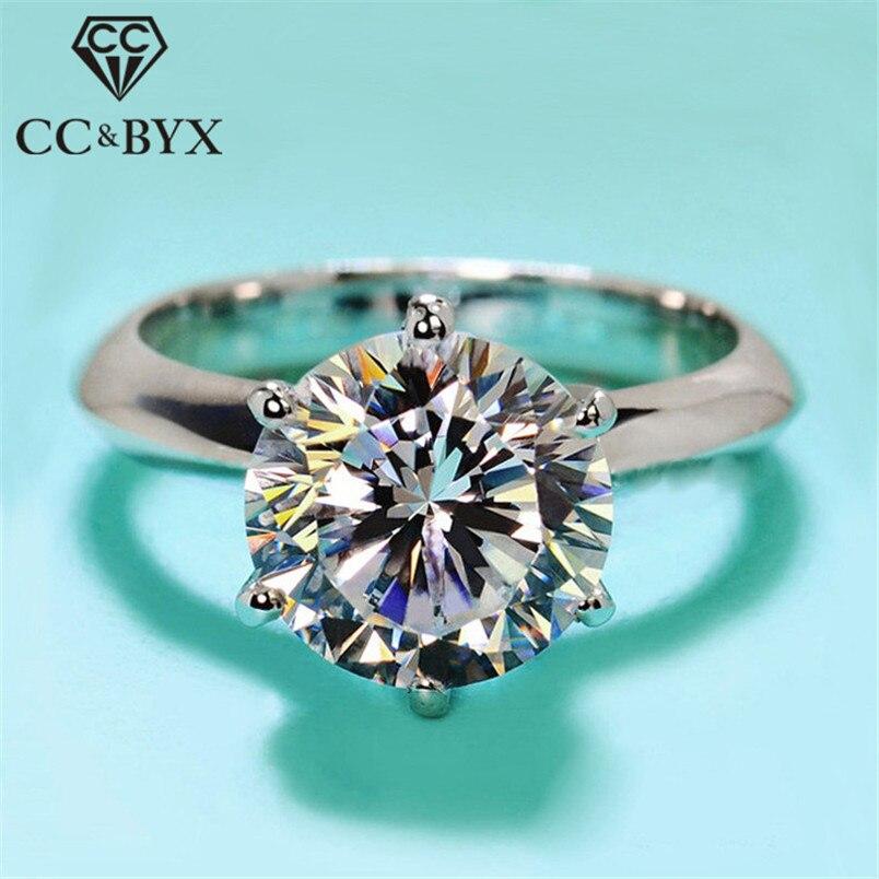 Anillos CC S925 de 2 quilates de Color enchapado en plata para Mujer, anillo de boda de oro blanco, joyería romántica para compromiso, Anillos de fiesta para Mujer