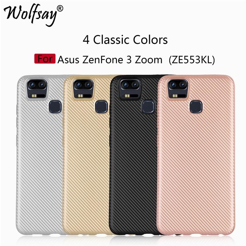 Wolfsay For Asus Zenfone 3 Zoom ZE553KL Case Cover Anti-Slip Carbon Fiber Texture Coque sFor Asus Zenfone 3 Zoom ZE553KL Cover