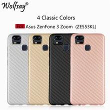 Wolfsay pour Asus Zenfone 3 Zoom ZE553KL housse de protection antidérapante en Fiber de carbone Texture Coque sFor Asus Zenfone 3 Zoom ZE553KL housse