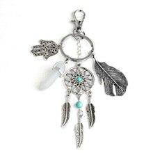 DIY Natural Hexagonal Stone Indian Dreamcatcher Keychain Palm Opal Tassel Leaves Bohemia Keyring Key Chain