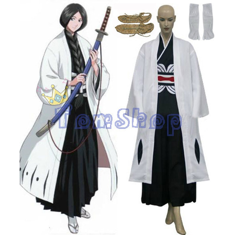 Anime Bleach 4th Division Captain Unohana Retsu Cosplay Kimono Uniform Suit Full Set Women Girls Costumes w/ Sandals Custom-made