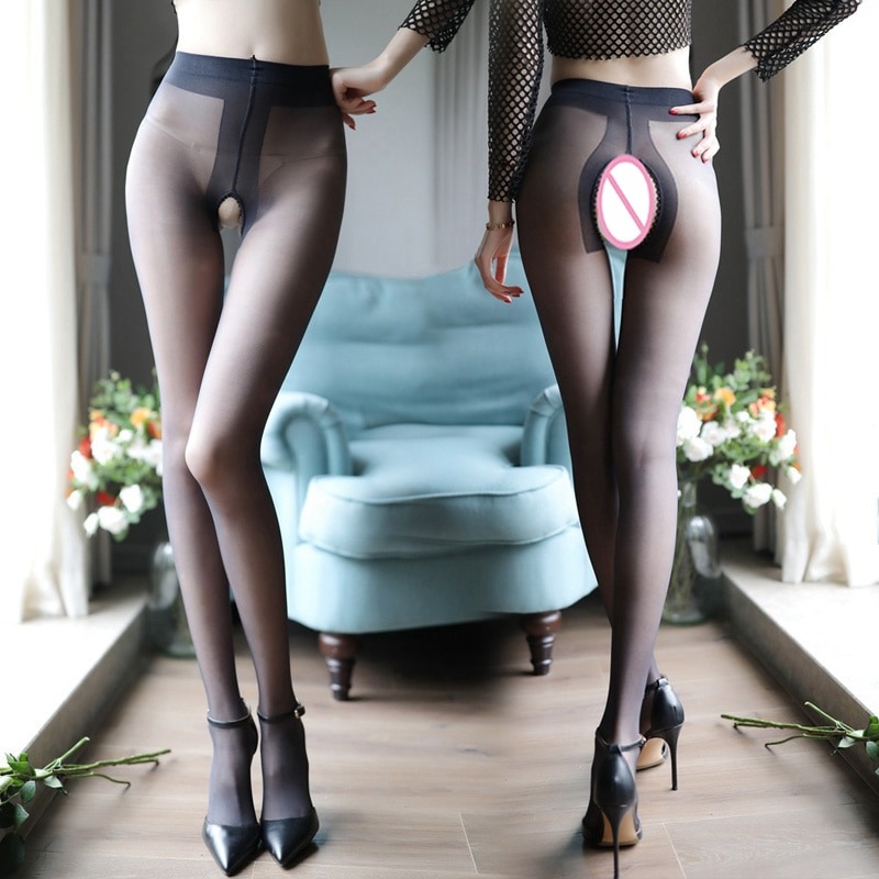 Ultra-thin Matte Velvet T-Crotch Sexy Open Crotch Pantyhose Lingerie 15D Nylon Tights Plus Size Transparent Silk Stockings