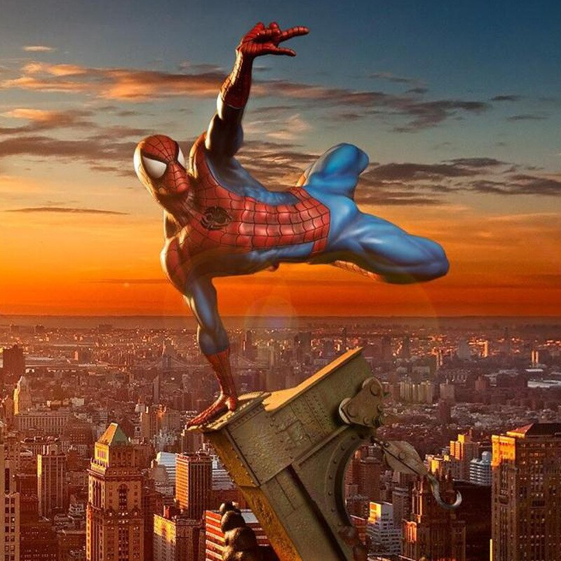 Movie Marvel Spider Man 3 & Black SpiderMan Darkness Statue Figure Model Toys