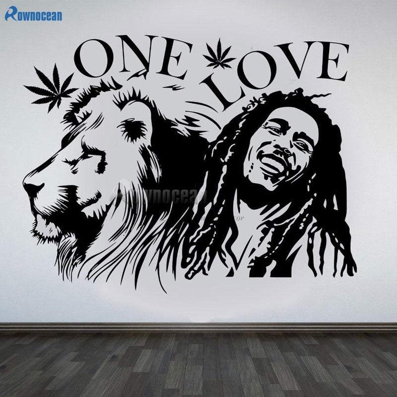 ROWNOCEAN Bob Marley Rock One Love Music One Love Vinyl Wall Sticker Home Decar Living Room Background Art Decoration Lion D563