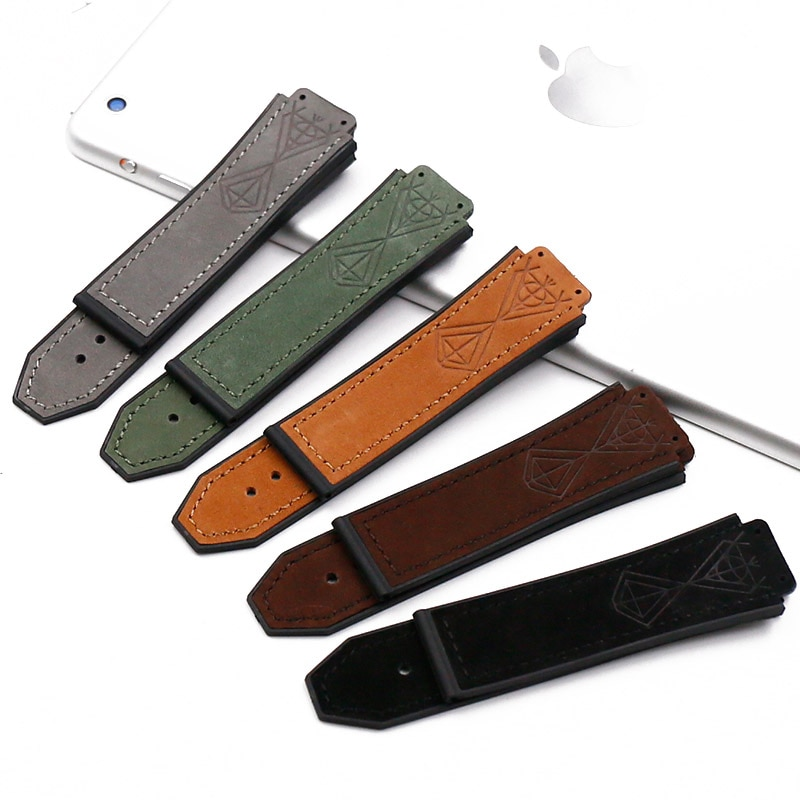 Accesorios para reloj, reloj de cuero con hebilla de correa de goma de 19mm x 25mm para HUBLOT big bang, pulsera deportiva resistente al agua, correa para reloj