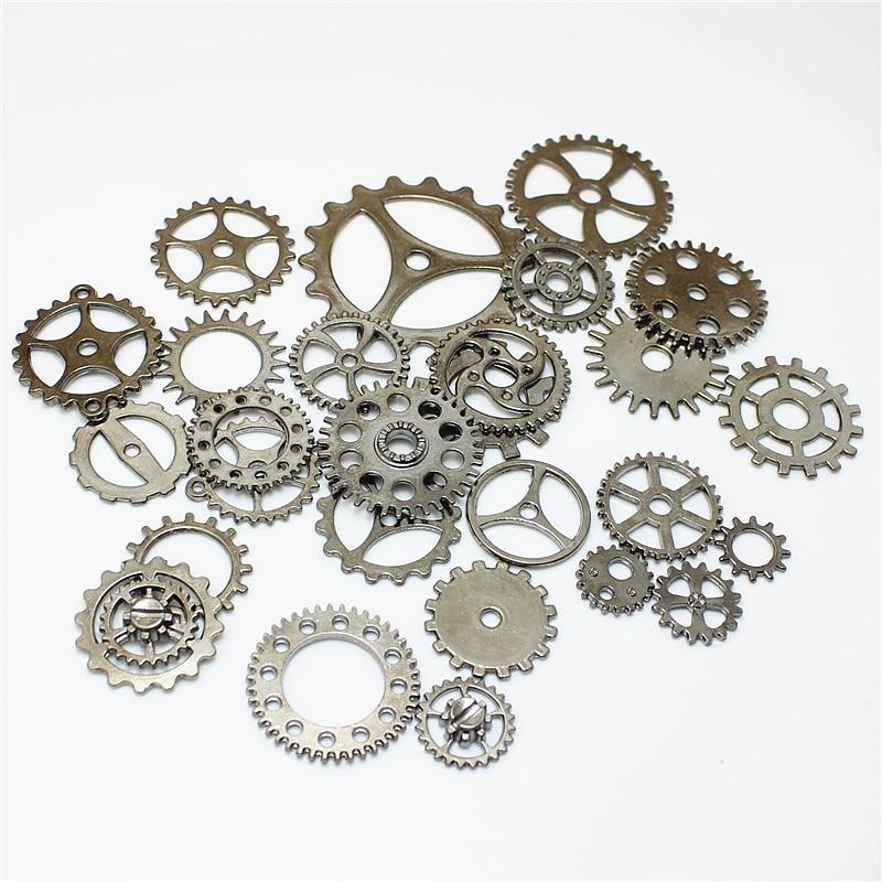 Sweet Bell Wholesale Mix 100 pcs steampunk  Charms Gear Pendant Gun black Fit Bracelets Necklace DIY Metal Jewelry Making D1195