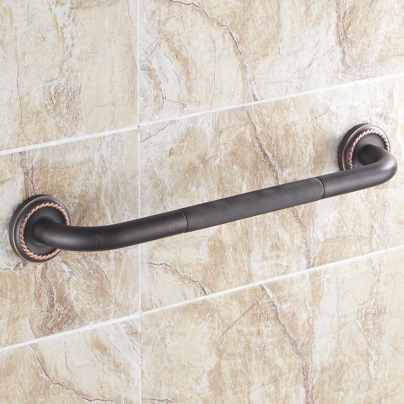 مقبض حمام بفرشاة سوداء عتيقة ، درابزين حوض الاستحمام ، مقبض أمان فاخر مع قاعدة منحوتة من النحاس ، مقابض أمان مثبتة على الحائط