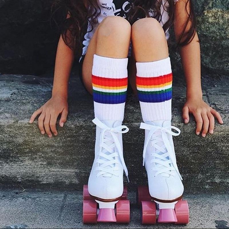 Calcetines de algodón para niños, calcetines largos hasta la rodilla de arcoíris para estudiantes, calcetines para niños y niñas, a rayas calcetines, calcetines blancos para la familia, calzado grueso para niños