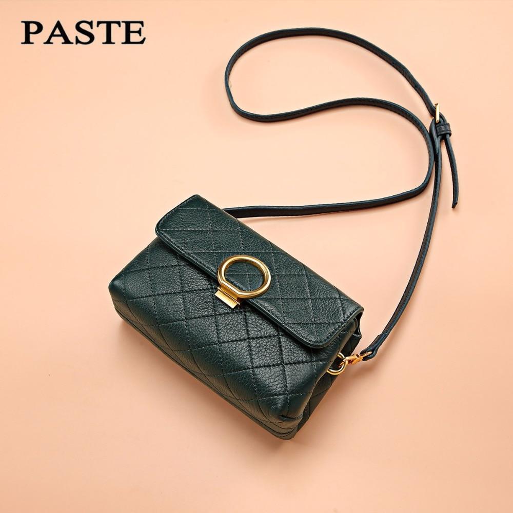 PASTE Brand Genuine Leather Bags Women Handbag with Crocodile Pattern Leather Tote Bag Small Tassel Shoulder Messenger Bags
