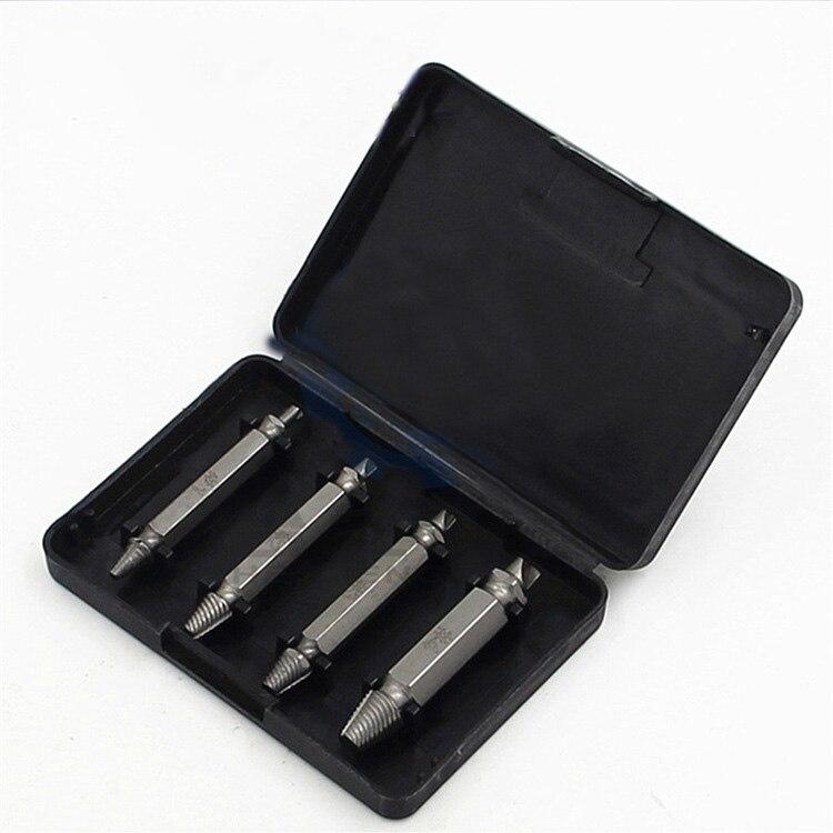 S2 Extractor de doble cabeza, tornillo deslizante, herramienta de eliminación de tornillo, Juego de 4 piezas, destornillador, broca de alambre roto, juego de combinación de taladro eléctrico