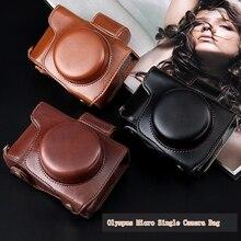 Funda para cámara de cuero PU edición de lujo para Olympus E-M10 EM10 Mark II III EM5 II E-PL7 E-PL8 EPL7 EPL8 PEN-F y correa