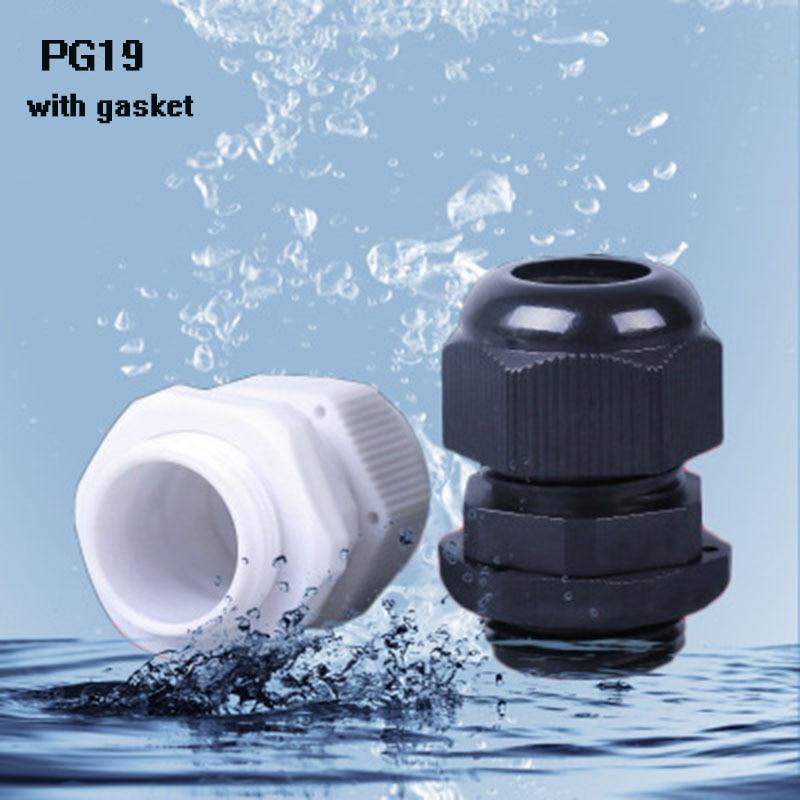 PG19 10 шт. нейлоновый кабельный ввод IP68 высококачественное водонепроницаемое кабельное соединение 12-15 мм с водонепроницаемой прокладкой Бес...