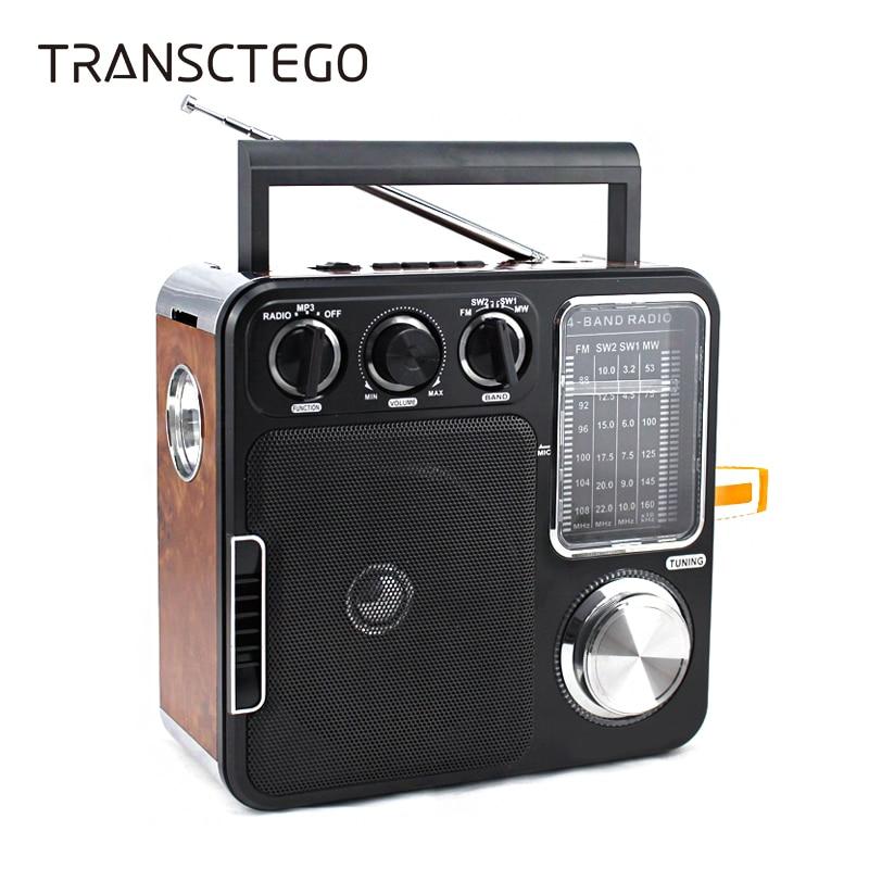 TRANSCTEGO Radio Portable Retro Desktop Vantage Antique Semiconductor Radio FM U Disk/SD Card As Gift For Old Man AUX-In