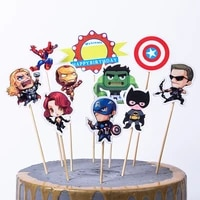 happy birthday cartoon baby shower events party revengers design decoration cupcake cake toppers with wooden sticks supply