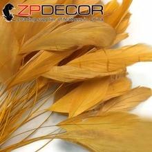 """ZPDECOR 100 stks 25-30 cm (10-12 """") Golden Geverfd Stripped Haanstaart Haar Extension voor Kostuums Decoratie Veren"""