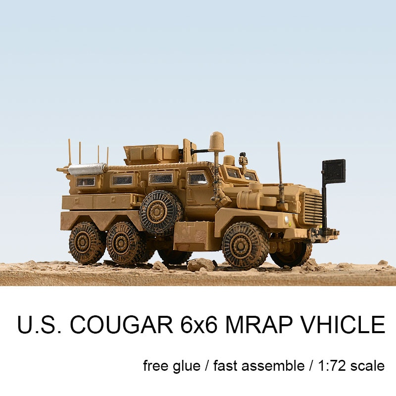 1/72 Cougar 6X6 Lightning Protection Vehicle Anti-ambush Vehicle Rubber-free Assembly Model Military Gifts for Boys and Girls