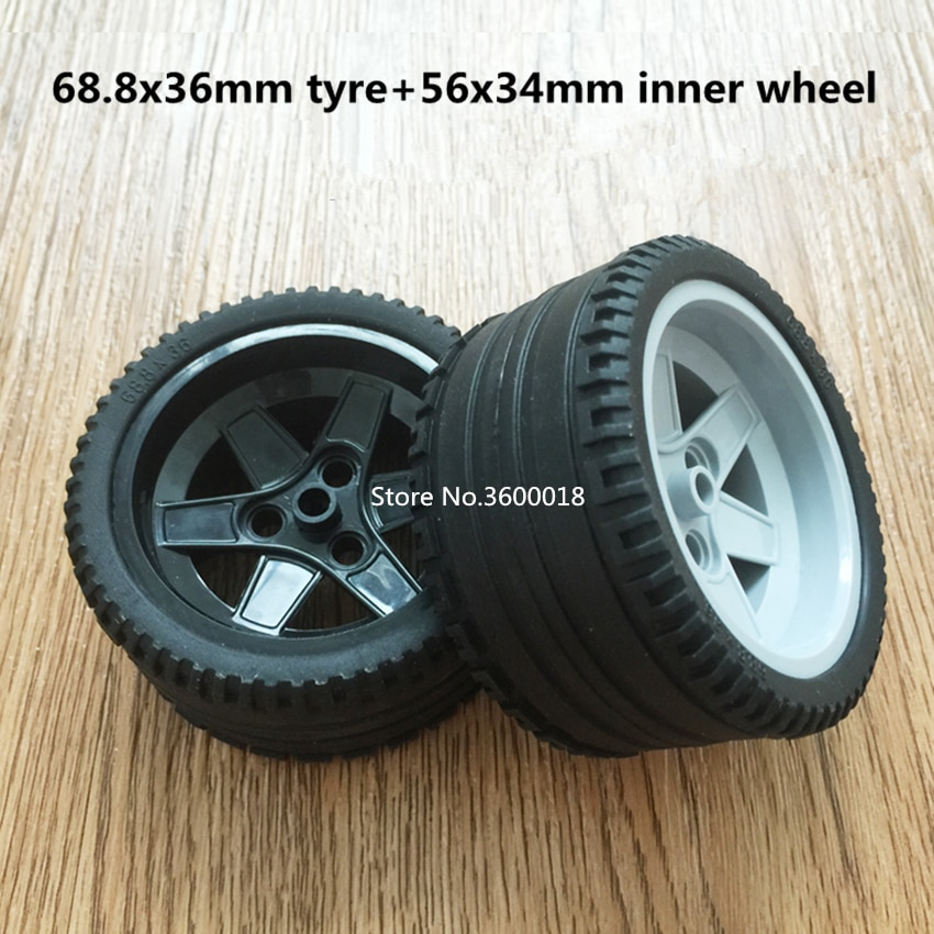 2set/lot Decool TECHNIC wheel 68.8*36mm Race Car Tire compatible with 15038 44771 MOC DIY Building blocks
