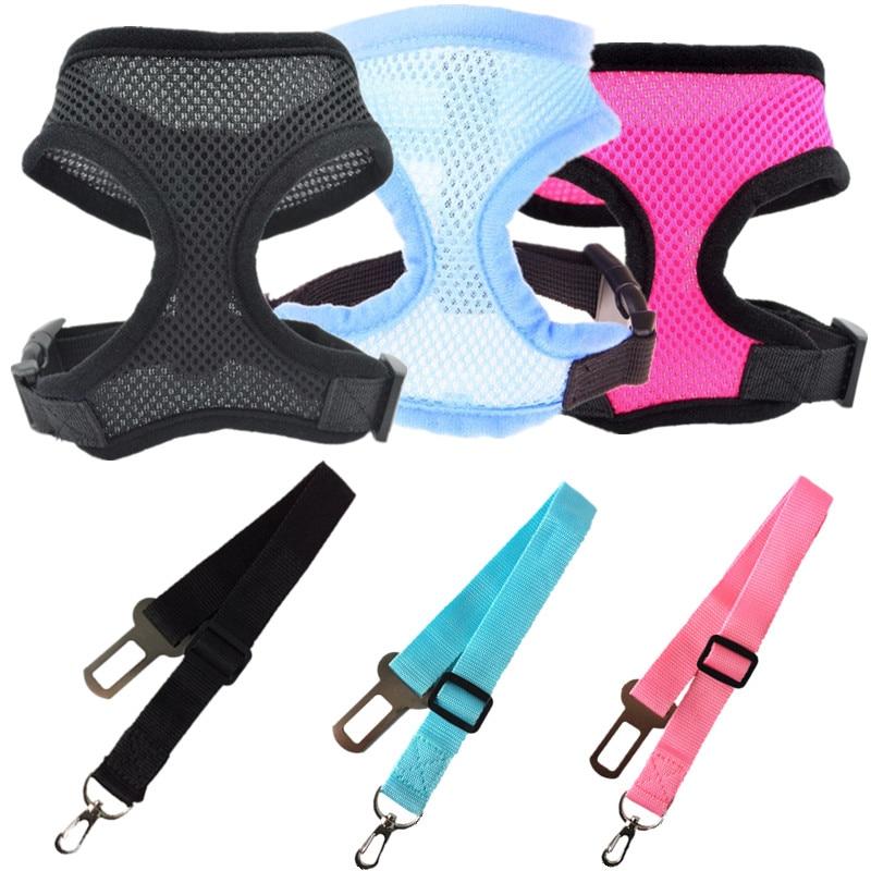 Ajustable perro para cinturón de seguridad de coche y arnés para perros y gatos, mascotas vehículo para cinturón de seguridad/cinturón de vida de perro Correa