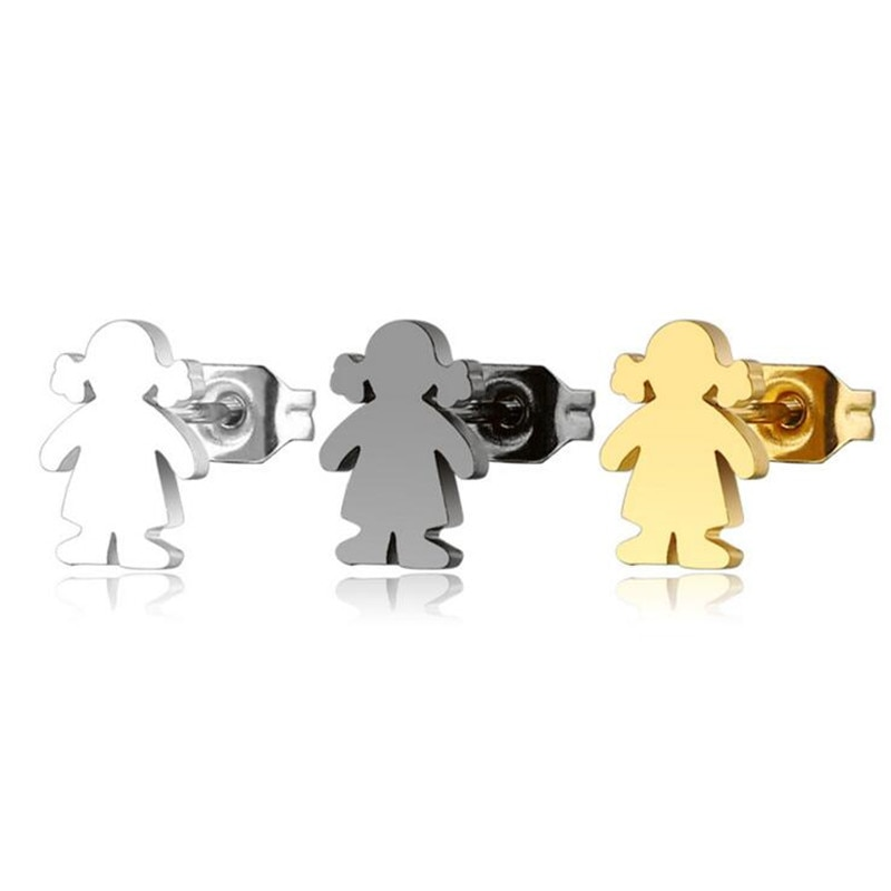 0.8*0.7cm stainless steel fashion cute bear girls earrings women small tiny stud earrings animals sh