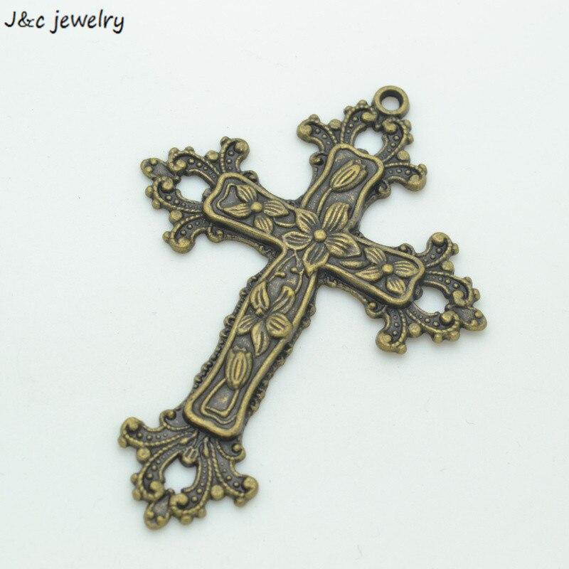 Atacado 3 pçs bronze antigo chapeado cruzes encantos diy jóias fazendo 74*53mm 3540b
