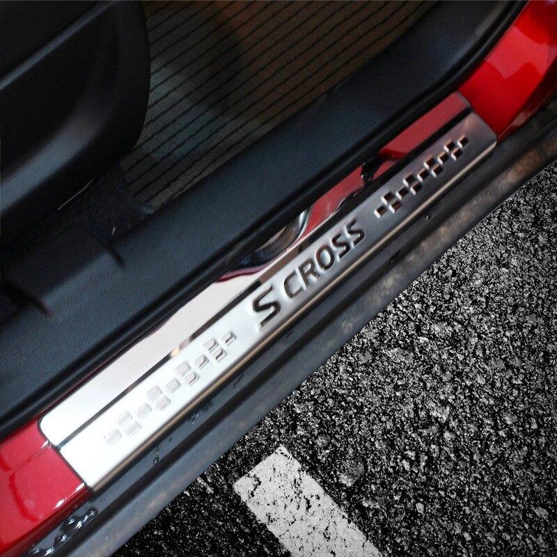 4 PÇS/SET aço inoxidável do peitoril da porta da Placa do Scuff Pedal Bem-vindo Para Suzuki s-cross SX4 2018 2017 2016 2015 Car Styling Acessórios