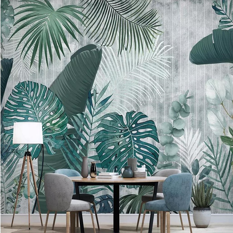 Custom wallpaper hand-painted tropical plants leaves simple TV background wall professional manufacturing mural photo wallpaper professional 10x20ft hand painted column arch scenic muslin photo backdrop background customized service size photos