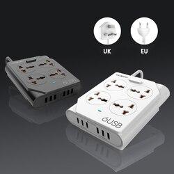 MOXOM блок питания USB розетка полоса 10А Быстрая зарядка 6 USB удлинитель Разъем 4 розетки розетка адаптер ЕС Великобритания ЕС силовая полоса