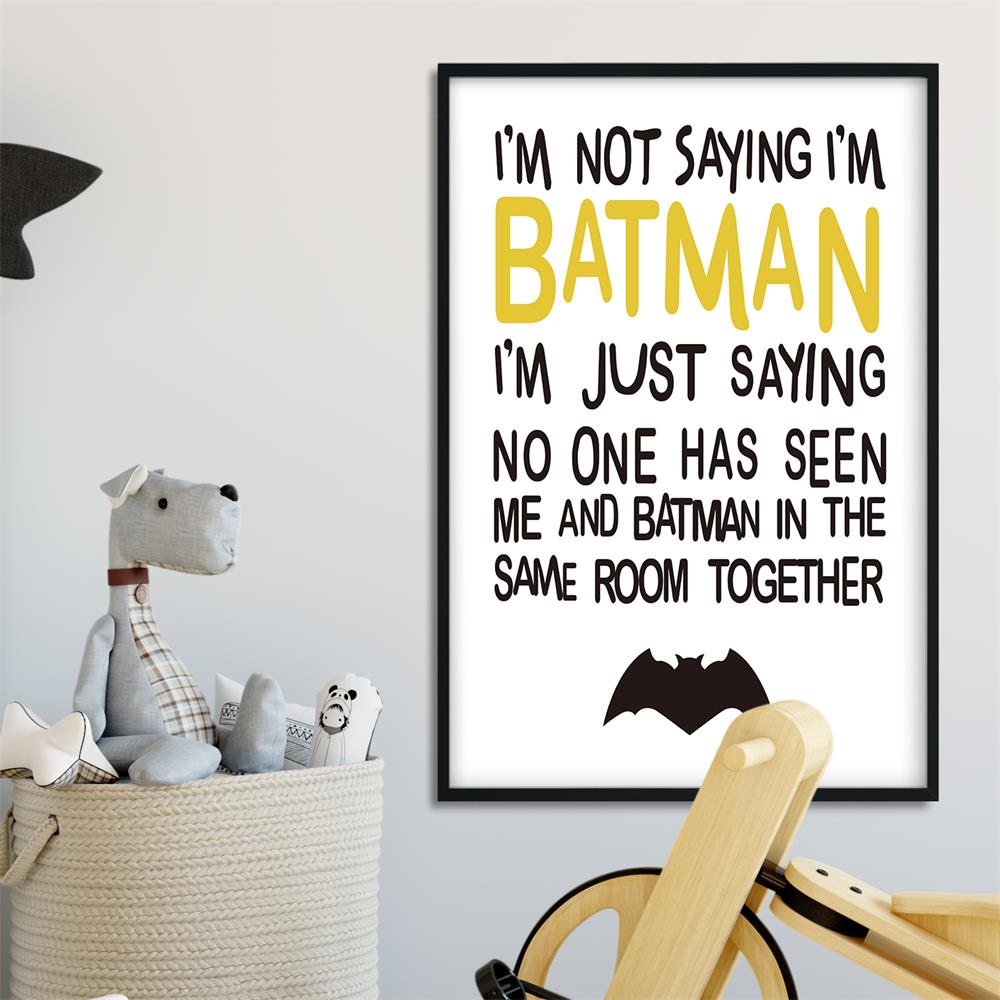 Dibujos Animados cita de Batman arte de pared divertidos carteles e impresiones pintura de lona minimalista cuadros de pared para niños Decoración Para sala de estar