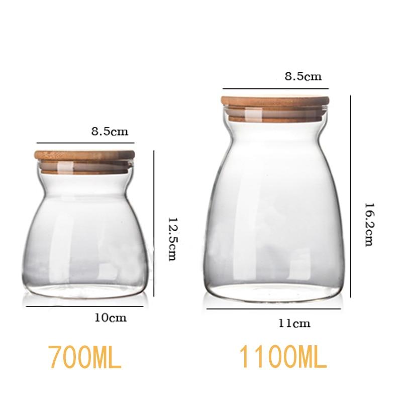 Jarrones de cristal de cocina tarro de condimento tapa de madera caja de almacenamiento de especias tarro de caramelo de alta calidad