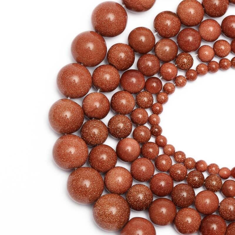 1 tira 4/6/8/10/12/14mm oro arena cuentas redondas de piedras naturales cristal de cuarzo cuentas sueltas DIY collar de cuentas joyería artesanal