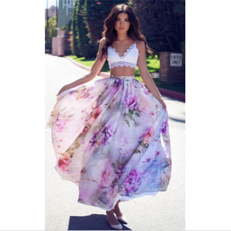 Verano 2017 nueva falda de gasa de moda Floral impresa mujer Boho hasta el suelo Maxi falda suelta de fiesta de playa