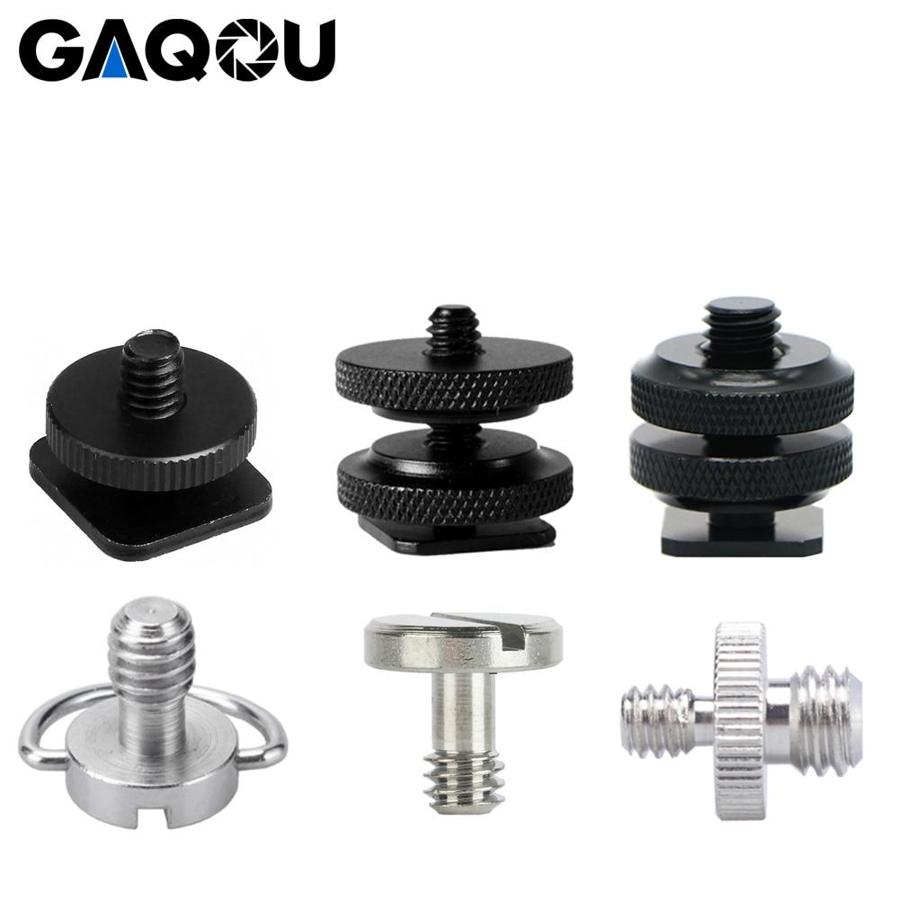 "GAQOU 1/4"" 3/8"" Thread Screw Hot Shoe Mount Adapter Tripod Plate Screw EB Mount for Camera Flash Tripod Light Stand Metal"