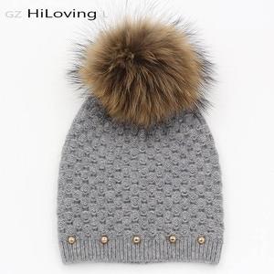 GZHilovingL брендовые зимние осенние модные элегантные женские шерстяные вязаные шапочки шапки настоящая меховая шапка с вязаным помпоном шапк...