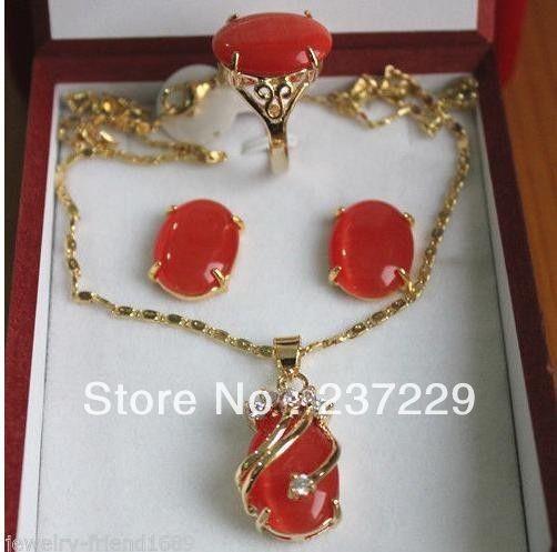 Precio al por mayor, envío rápido, nuevo, JADE VERDE rojo, cristal de incrustación, colgante, collar, anillo, pendiente, conjunto Natural jewe 30% de descuento