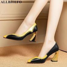 Allbitefo natural genuíno couro feminino saltos altos cores misturadas moda sexy sapatos de salto alto meninas festa sapatos femininos