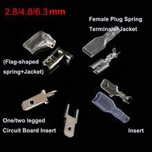 Bornes à ressort à bouchons   2.8/4.8/6.3mm, (insérer + veste)/(une/deux jambes de Circuit imprimé) (drapeau en forme de drapeau + veste)