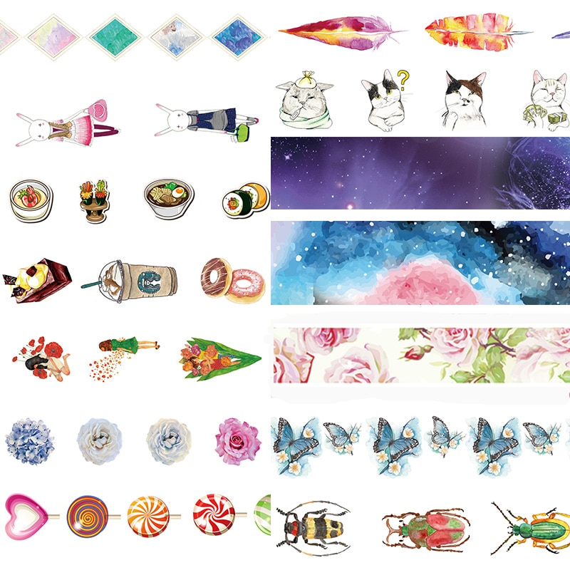 Alideco Washi Masking Tapes Vlinder Veer Kat Decoratieve Adhesive Scrapbooking DIY Papier Japanse Stickers Grootte 1.5cm * 10m