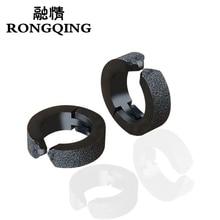 RONGQING 10 paare/los Mode Schwarz Ohrringe für Männer und Frauen Edelstahl Ohrring Clips Großhandel