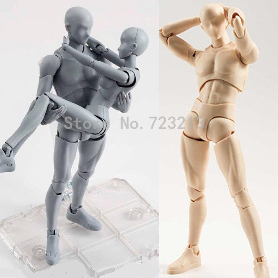 Venta única 18cm Multi-joint Masculino Femenino artista del cuerpo movible Manikin SHF articulado Rod End con soporte juguetes de modelos de colección