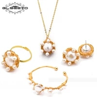 xlentag natural fresh water pearl ring earrings necklace bangle set for women wedding gift original handmade jewelry sets gs0002