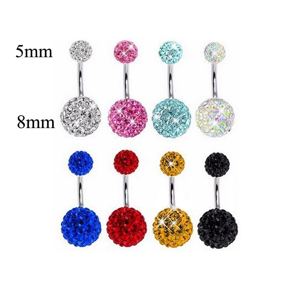 Belly Bar Button Rings Multi Crystal Piercing Gem Navel Surgical Steel Body Piece Jewellery Punk Hip Hop Trendy Navel Piercing