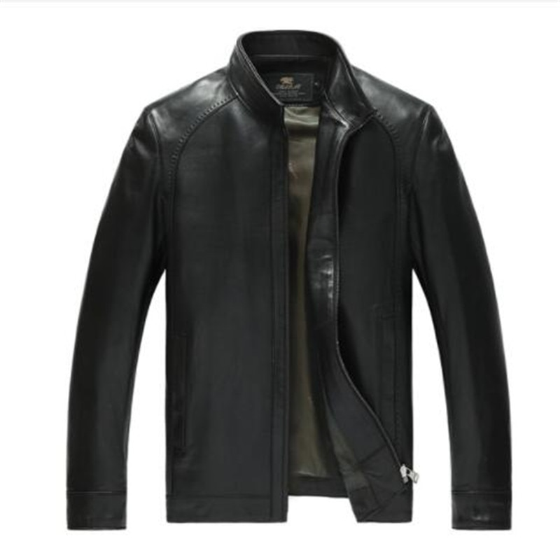 Chaqueta de cuero genuino para hombre de fábrica, piel de cabra mate Real, piel de oveja, moda de marca, abrigo negro para hombre de talla grande 4XL