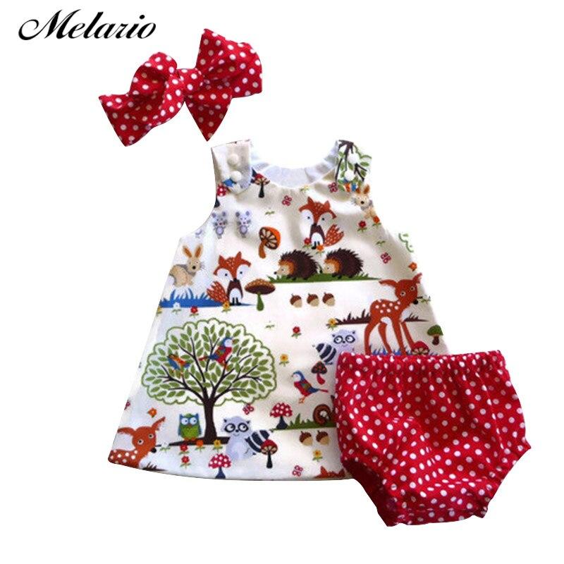 Melario Baby Girls Clothing Set 2020 New Brand Three Piece Sets Short Pants+Hair Band+Dress Printing Patten For Baby 6-12M