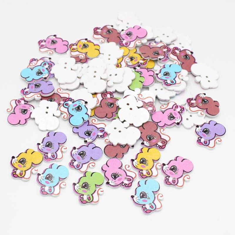 20 o 50 uds/Botones multicolores squirrelt Botones de 2 agujeros de madera Botones para artesanía accesorios de costura Scrapbooking