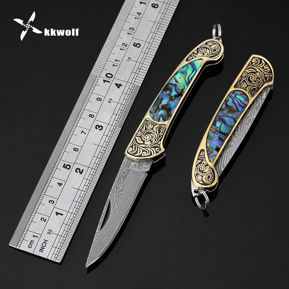 Kkwolf aço damasco faca dobrável portátil bolso faca de acampamento sobrevivência facas táticas colorido abalone escudo lidar com edc
