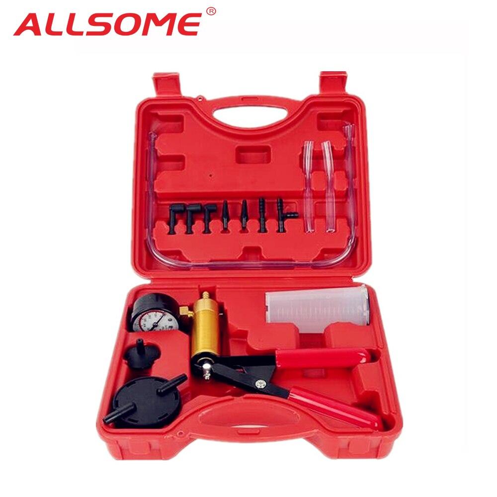 Allsome Auto Auto Hand Held Vacuüm Pistool Pomp Remontluchter Adapter Vloeistof Reservoir Tester Kit 2 In 1 Tool Kits HT1190